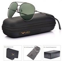 LUENX Mens Womens Sunglasses Aviator Polarized Dark Green Lens Gun Metal Frame - $42.94
