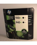HP INK CARTRIDGES FACTORY SEALED NEW 2X DOUBLE DUAL 940 XL BLACK HIGH CA... - $29.65