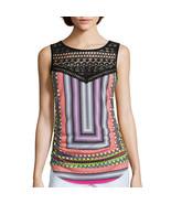 Bisou Bisou Lace Embellished Tank Top New Size L Msrp $40.00 - $16.99