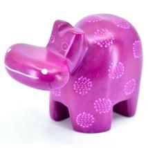 "Hand Carved Kisii Soapstone ""Happiness"" Fuchsia Hippopotamus Hippo Figure image 2"