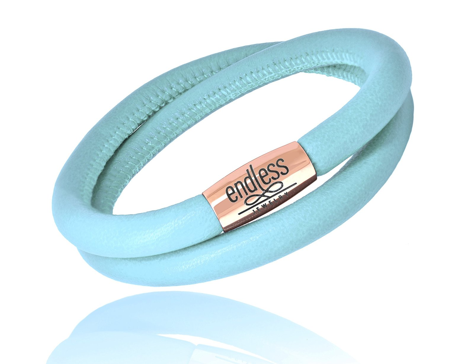 Endless Jewelry Double Wrap Light Blue Leather Bracelet with Rose Tone Clasp 127