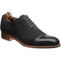 Handmade Men's Lace Up Cap Toe Brogue Shoes, Men's Black Suede Leather Shoes image 3
