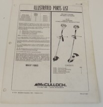 McCulloch Illustrated Parts List Pro Mac III and IV and AV Super Brushcu... - $9.99