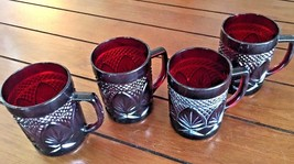 D'ARQUES 4 per Set Red Ruby Cristal Cut Glass France Coffee Mugs Cups - $36.48