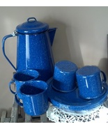 Blue Enamelware Camping Set Pitcher Cups Plates... - $49.97