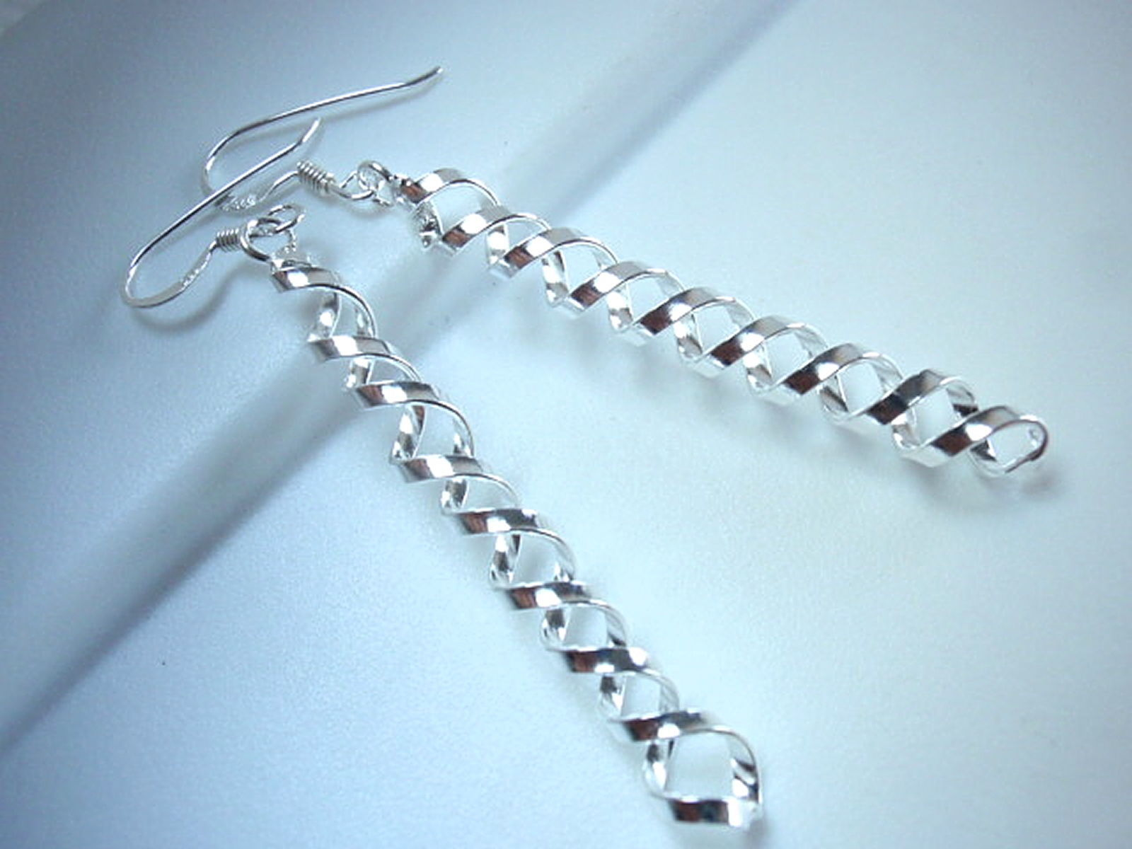 Primary image for Cork Screw 925 Sterling Silver Dangle Earrings Corona Sun Jewelry