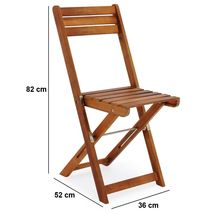 Wooden Garden Foldable Set 3pcs Patio Balcony Furniture Table & 2 Chairs Natural image 4