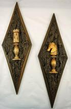 Vintage Burwood Large Diamond Plaques Tree Bark Gold Chess Medieval Mid ... - $37.99
