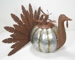 Metal Turkey with Pumpkin Body Fall Thanksgiving Decor Eclectic Country Style