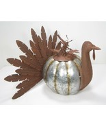 Metal Turkey with Pumpkin Body Fall Thanksgiving Decor Eclectic Country ... - $43.51