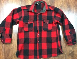 VTG Woolrich Red Button Front Shirt Red & Black Buffalo Plaid Distressed... - $20.18