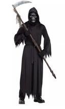 Demon of Doom Death Grim Reaper Skeleton Mask Large Kids Halloween Costume Black - $36.63