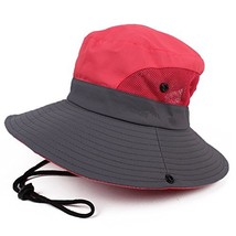 JURUAA Women's Boonie Hat Sun Bucket Visor Hats Packable Travel Hat Red - $11.42