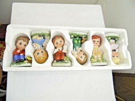 new figurines set of 6  around 40 years old 4 inches tall boys and girls... - $14.89
