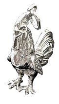 French Rooster Pendant Charm Large size  Sterling silver MS056 - $54.00