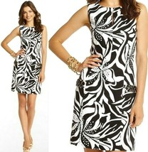 Lilly Pulitzer Forsythia Black White Sneak A Peek Embellished Shift Dress 8 - $130.50