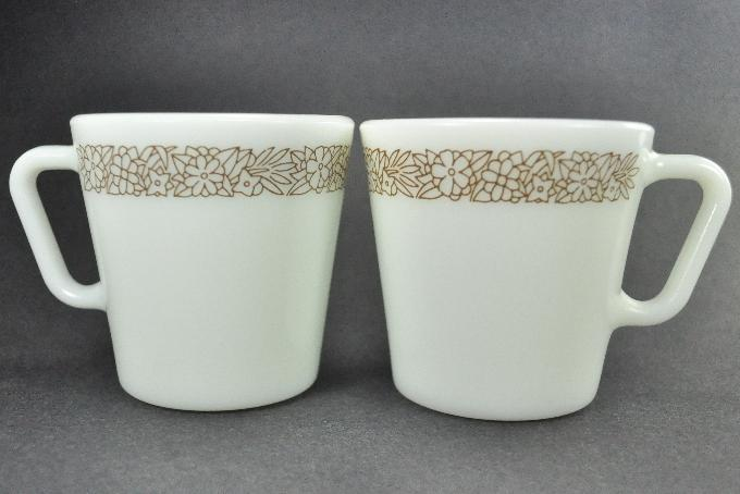 2 Pyrex Milk White Brown Woodland 1410 Coffee Mugs Cups