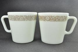 2 Pyrex Milk White Brown Woodland 1410 Coffee Mugs Cups - $8.00