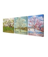 DECORARTS - Triptych Orchard in Blossom, The Pink Peach Tree, Peach Tree... - $139.80