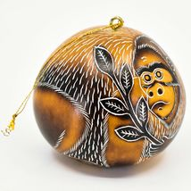 Handcrafted Carved Gourd Art Gorilla Zoo Animal Ornament Made in Peru image 4
