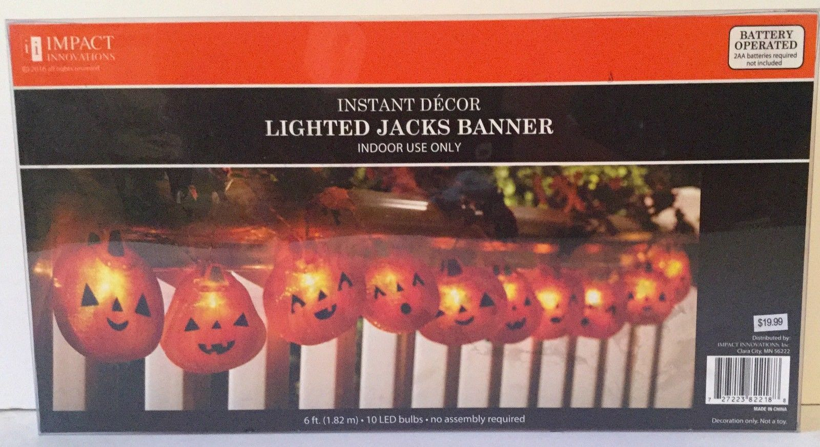 Instant HALLOWEEN Decor LIGHTED JACKS BANNER 6' Length, 10 LED Bulbs, Battery Op