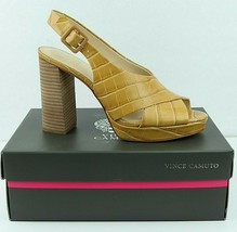 Vince Camuto Javasan Leather Platform Sandal Heels Size 9.5 Caramel Croc... - $26.14