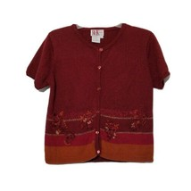 R&K Women's Button Down Sweater ~ Sz 8 ~ Short Sleeve ~ Burgundy ~ Embro... - $18.80