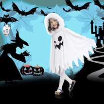 Children Kids Halloween Cloak Cape Funny White Fairy Ghosts Pattern with... - $13.99