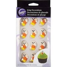 WILTON HALLOWEEN ICING DECORATIONS 12 Pc Candycorn Ghost Sugar Candy Edible - $9.90