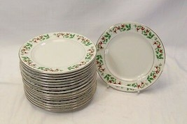 "Everyday Gibson Xmas Charm Holly Berry Salad Plates 7.5"" Lot of 16 - $74.47"