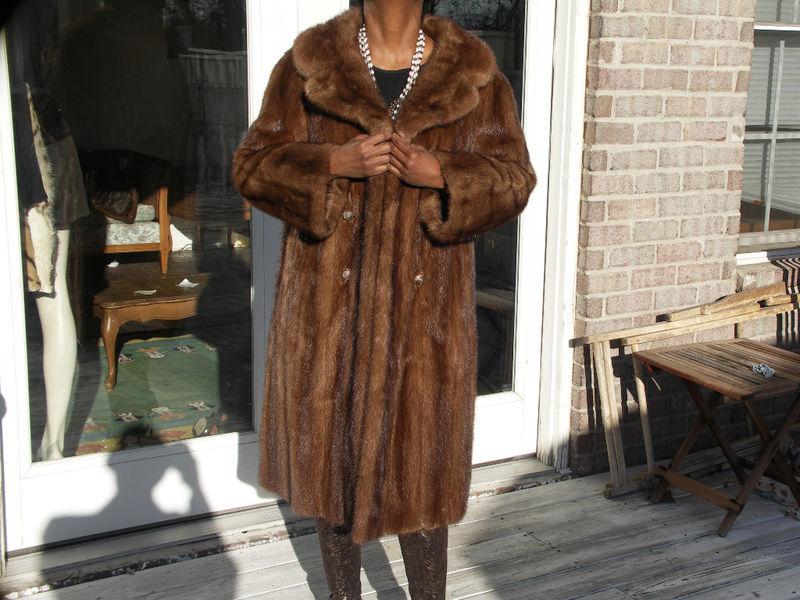 3/4 Full Length brown Mink Fur coat jacket bolero S-M