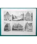 ARCHITECTURE German Renaissance Heidelberg Cologne Bremen - 1870 Engravi... - $16.20