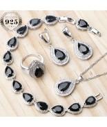 Bridal 925 Sterling Silver Jewelry Sets Women Black Stones Earrings Wedd... - $29.86