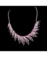 Dramatic Fringe necklace - over 150 purple rhinestones - silver Dazzling... - $75.00