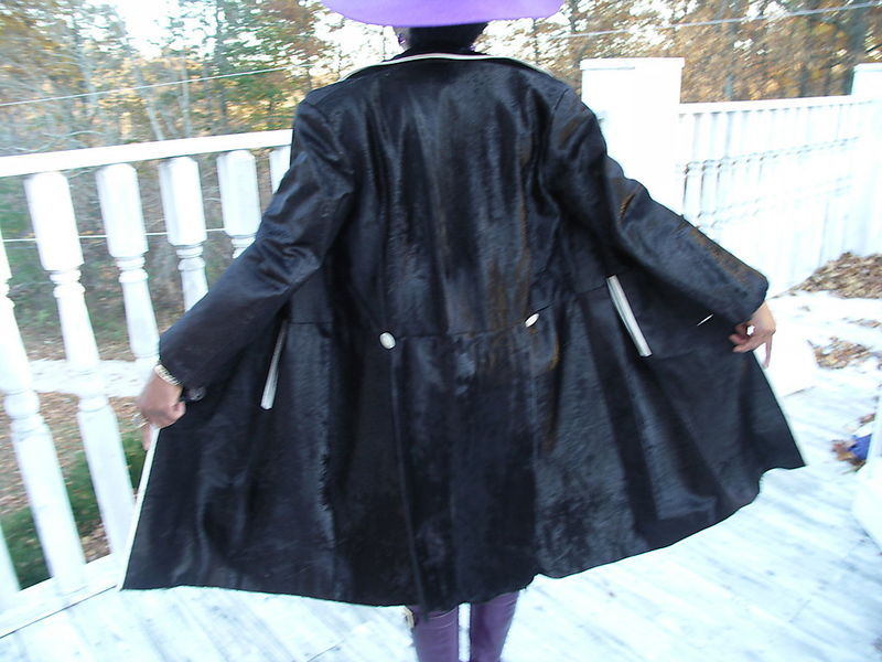 Black with white trim Cow Pony Hair Fur coat jacket S-M
