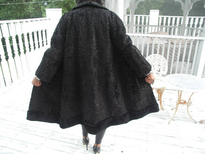 Class Russian Black Karakul Swakara Fur Coat Jacket S M