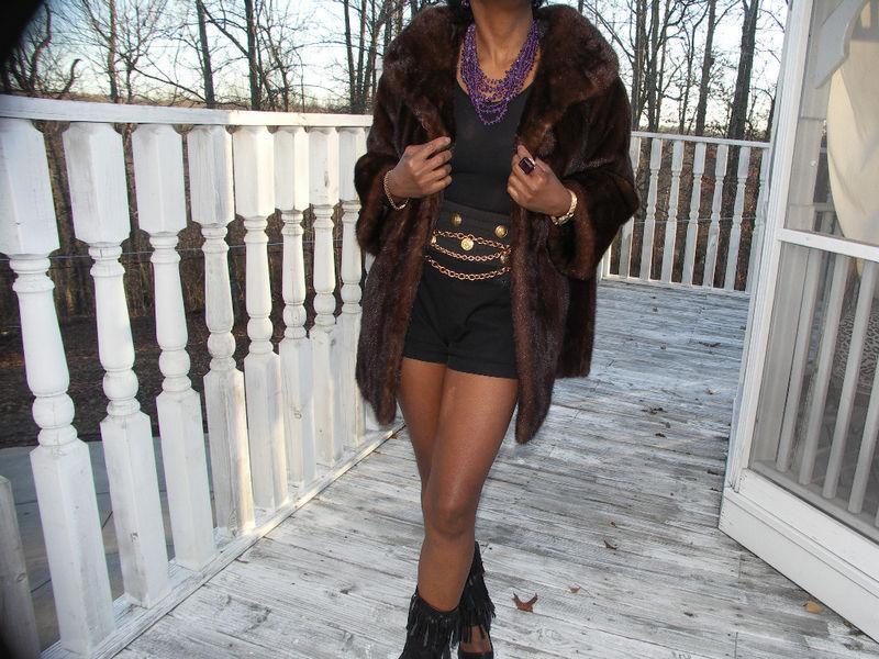 Classy Mr John dk ranch mink Fur coat Bolero Jacket S-M