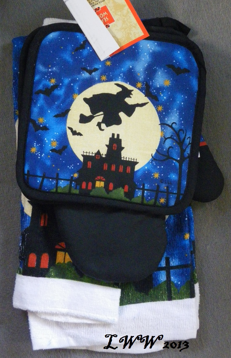 Witch Flying Moon and Stars Haunted House Halloween towels pot holders oven mitt