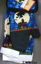 Witch Flying Moon and Stars Haunted House Halloween towels pot holders oven mitt image 2