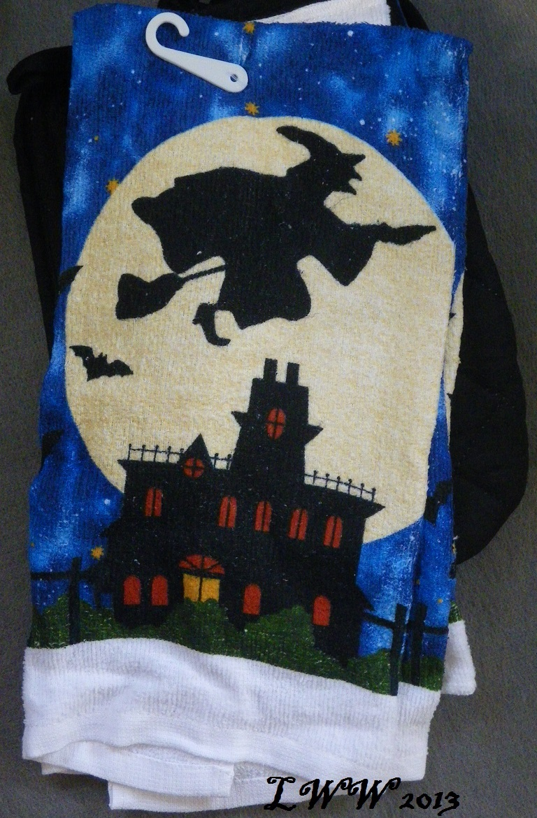 Witch Flying Moon and Stars Haunted House Halloween towels pot holders oven mitt image 3