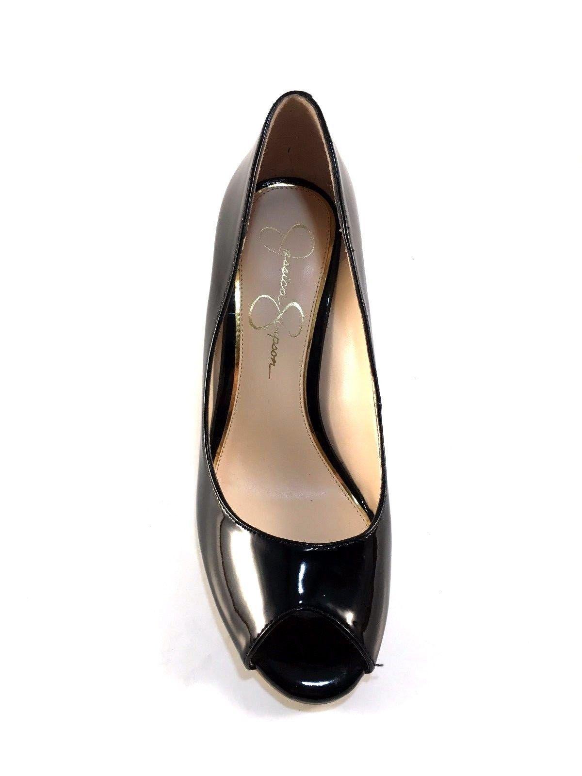 Jessica Simpson Lorion Black Patent Peeptoe Wedge Pumps Size 8 image 5