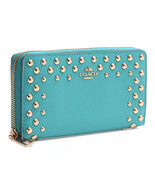 COACH ACCORDION ZIP WALLET STUDDED CROSSGRAIN LEATHER F53145 CADET BLUE ... - $128.69