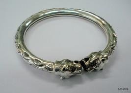 traditional design sterling silver bangle bracelet tiger heads kada - $110.88