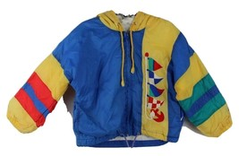 Vintage toddler Kids London Fog hoodie yellow blue full zip jacket size 3T - $15.62