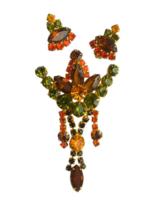 60s Juliana Style Austrian Glass Green Orange Brown Rhinestone Brooch & ... - $58.00