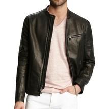 John Varvatos Collection Men's Leather Racer Zip Front Jacket Black EUR 54 - $678.00