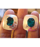 EXTRAVAGANT PAIR AMAZING UNIQUE EMERALD CUFFLINKS avlb - $120.00