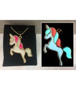 Kawaii UNICORN Glitter GLOW IN THE DARK Gold Fantasy Charm Pendant Neckl... - $18.00