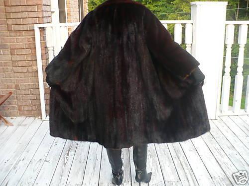 Excellent Full length brown mink Fur Coat Jacket Stroller  M-L 8-12/14