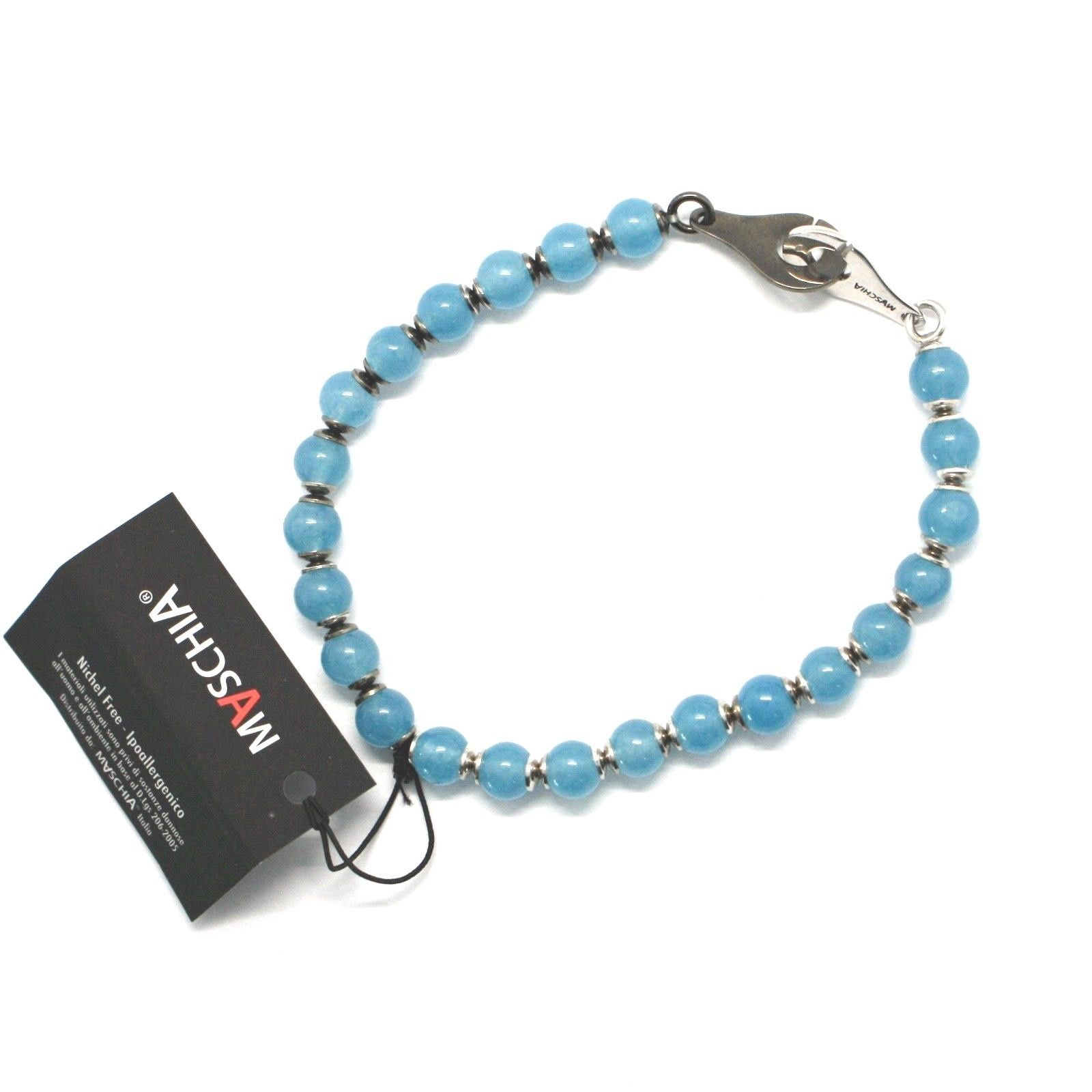 Silver 925 Bracelet round Aquamarine BSP-3 Made in Italy by Maschia